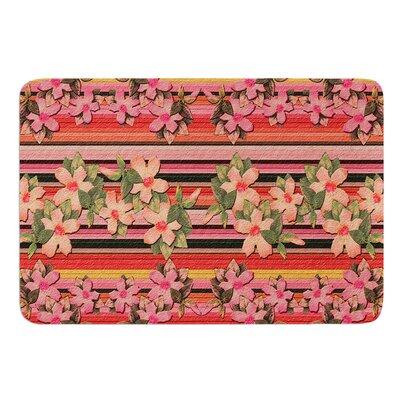 Peach Hibiscus Stripe by Nina May Bath Mat