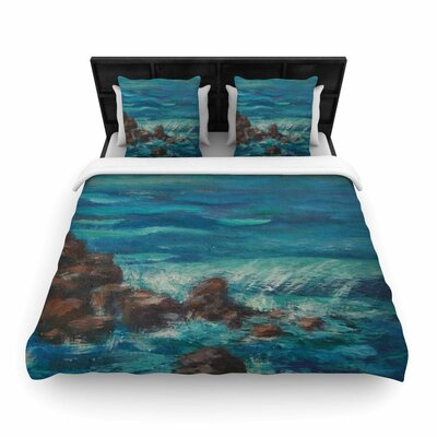 The Lighthouse Rocks Woven Duvet Cover Size: Twin