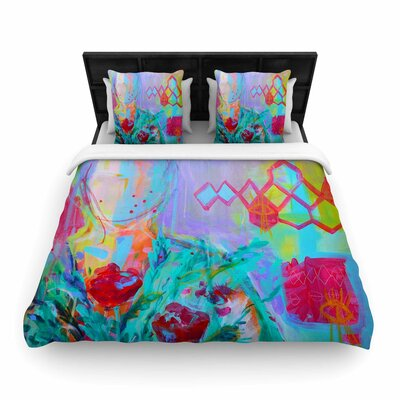 Girl With Plants I Woven Duvet Cover Size: Twin