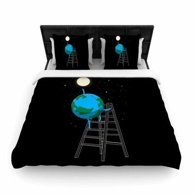 Reach The Moon Woven Duvet Cover Size: Queen