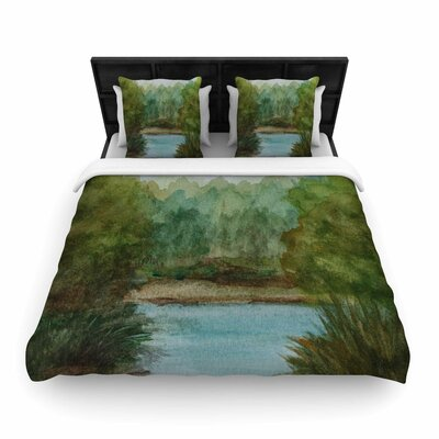 Blue Lake Channel Woven Duvet Cover Size: Queen