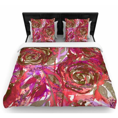 Coral Red Woven Duvet Cover Size: Twin