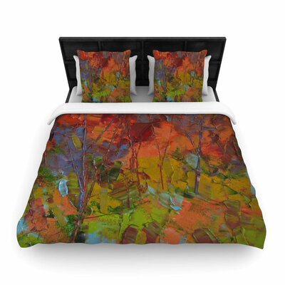 Fall Colours Woven Duvet Cover Size: King