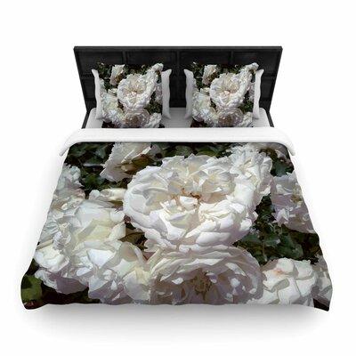 Flores Blancas Woven Duvet Cover Size: Queen
