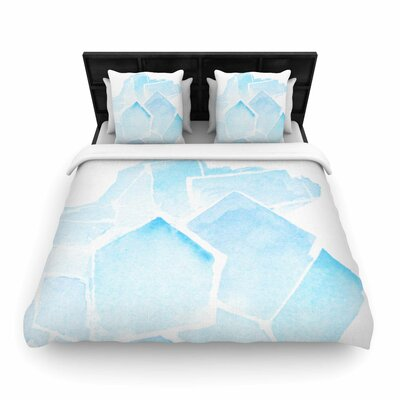 Blue Quartz Woven Duvet Cover Size: King
