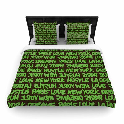 Lux Writing Woven Duvet Cover Color: Green Brown, Size: Queen