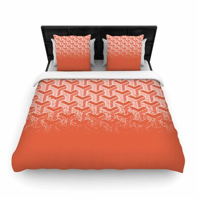 Woven Duvet Cover Color: Coral, Size: Queen