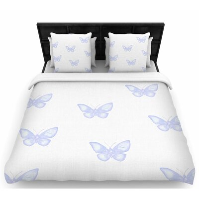 Many Lavender Butterflies Woven Duvet Cover Size: Queen