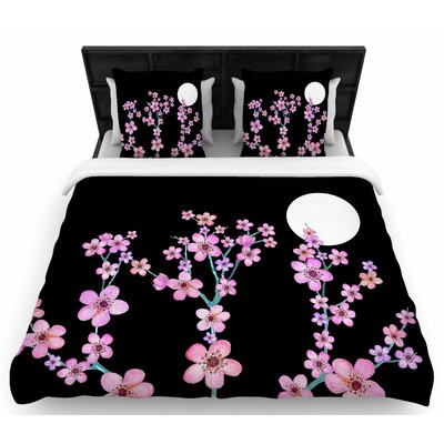 Cherry Blossom At Night Woven Duvet Cover Size: Queen