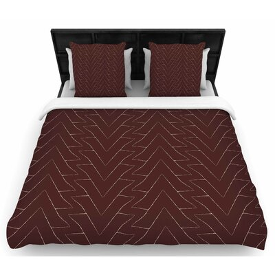 Brown Triangles Woven Duvet Cover Size: Queen