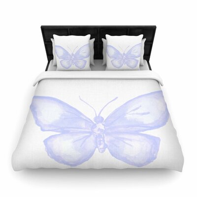 Lavender Butterfly Woven Duvet Cover Size: Queen