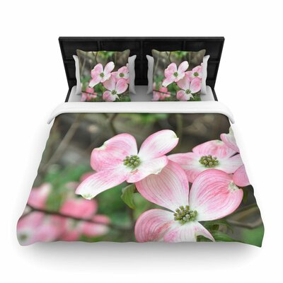 Spring Flowering Dogwood Woven Duvet Cover Size: King
