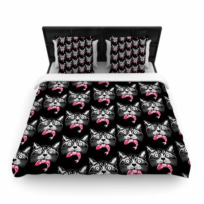 Hungry Cat Woven Duvet Cover Size: King