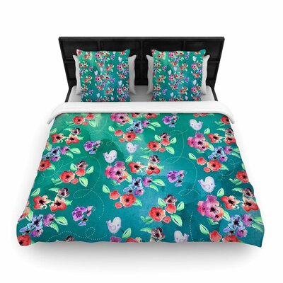 Spring Birds On Teal Woven Duvet Cover Size: Queen