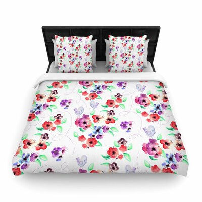 Spring Flowers And Birds Woven Duvet Cover Size: Queen