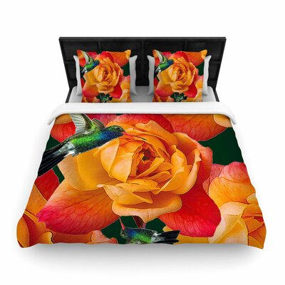 Roses In Hummingbird Duvet Cover Size: Queen