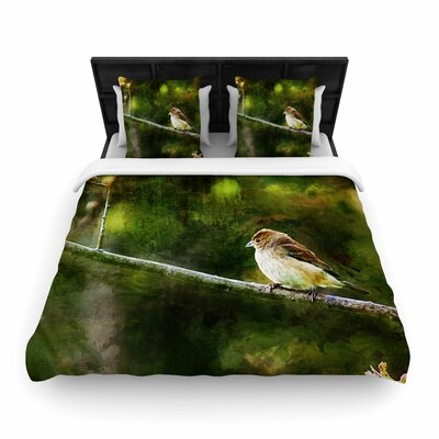 Painted Songbird Woven Duvet Cover Size: King