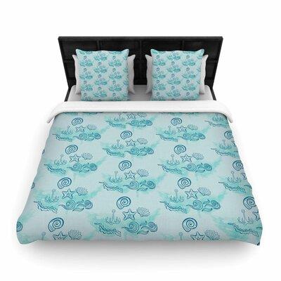 Blue Ocean Woven Duvet Cover Size: King