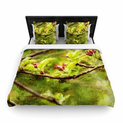 Apple Blossom Branch Woven Duvet Cover Size: King