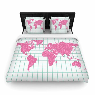 Grid Map Mint Pink Woven Duvet Cover Size: Twin