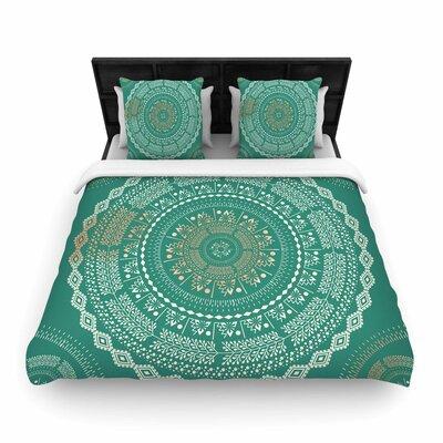 Mint Medallion Woven Duvet Cover Size: King