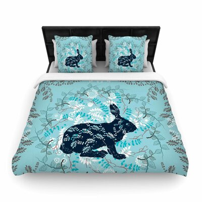 Bunny In The Jungle Woven Duvet Cover Size: Queen