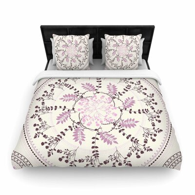Pinkish Madellion Woven Duvet Cover Size: King