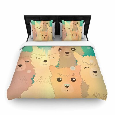 Alpacas In Snow Woven Duvet Cover Size: King