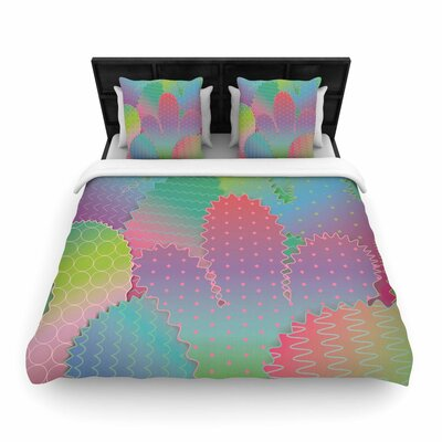 Colorful Cacti Garden Woven Duvet Cover Size: Twin
