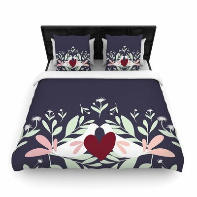 Love Nest Woven Duvet Cover Size: King