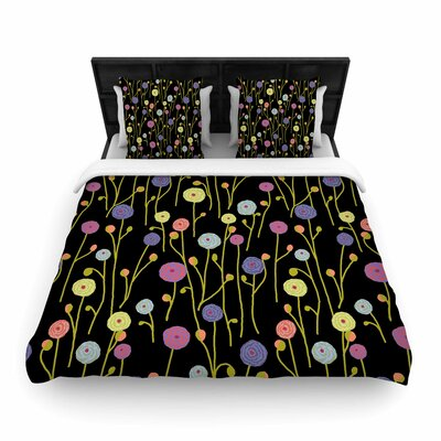 Ranunculas On Black Woven Duvet Cover Size: Queen