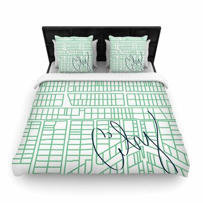 Teal City Streets & Parcels Woven Duvet Cover Size: Queen