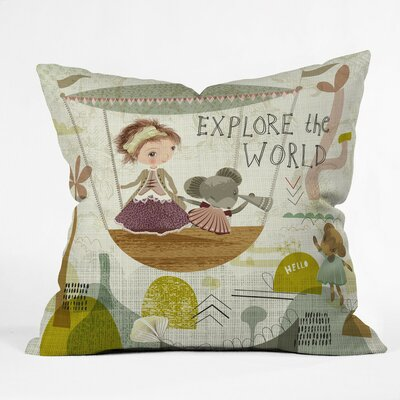Explore The World Polyester Throw Pillow Size: 16 H x 16 W x 4 D
