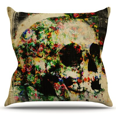 Floral Skully by Frederic Levy-Hadida Outdoor Throw Pillow