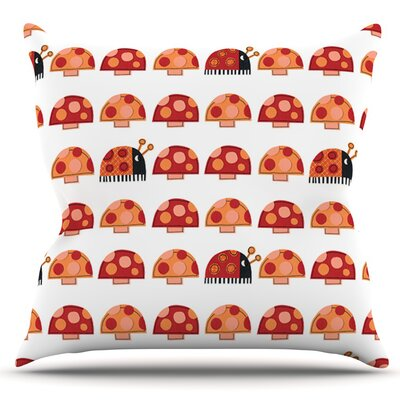 Garden Ladybugs by Jane Smith Outdoor Throw Pillow