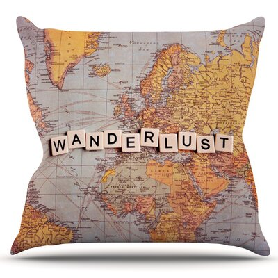 Wanderlust Map by Sylvia Cook Outdoor Throw Pillow