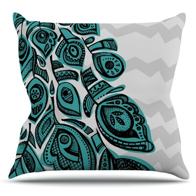 Peacock by Brienne Jepkema Outdoor Throw Pillow Color: Blue