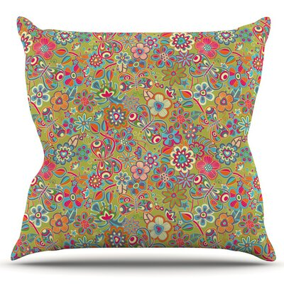 My Butterflies and Flowers by Julia Grifol Outdoor Throw Pillow Color: Green