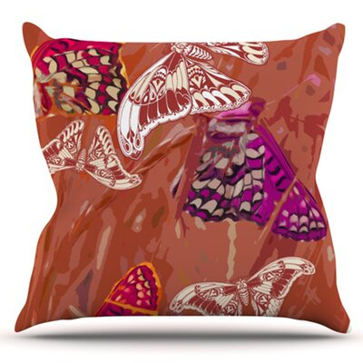 Butterflies Party by Vikki Salmela Outdoor Throw Pillow Color: Blue