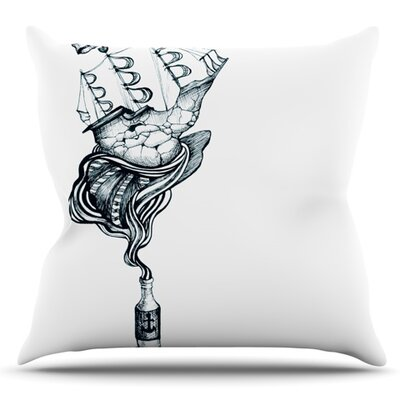 All Aboard by Graham Curran Outdoor Throw Pillow Color: Teal