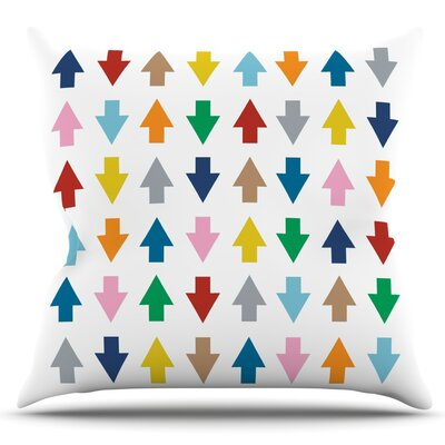 Arrows Up and Down by Project M Outdoor Throw Pillow Color: White