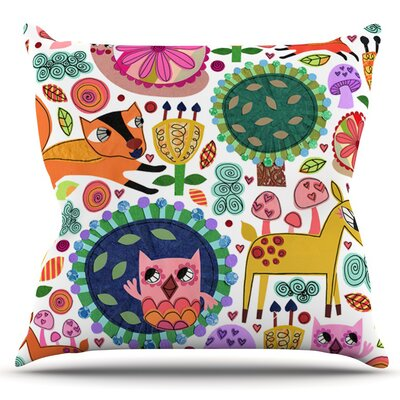 Woodland Critters by Jane Smith Outdoor Throw Pillow