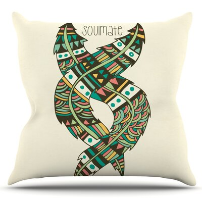 Soulmate Feathers by Pom Graphic Design Outdoor Throw Pillow