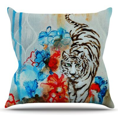 Tiger by Sonal Nathwani Outdoor Throw Pillow