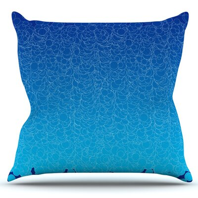 Bubbling by Frederic Levy-Hadida Outdoor Throw Pillow Color: Blue