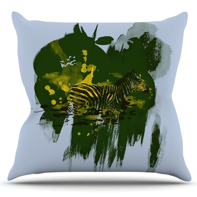 Watercolored by Frederic Levy-Hadida Outdoor Throw Pillow Color: Green