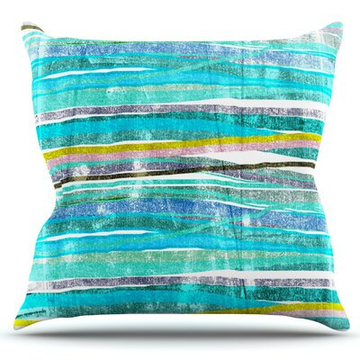 Fancy Stripes by Frederic Levy-Hadida Outdoor Throw Pillow Color: Aqua