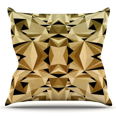 Abstraction by Nika Martinez Outdoor Throw Pillow Color: Black/Gold