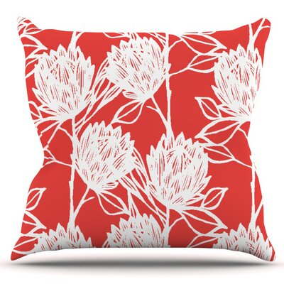 Protea by Gill Eggleston Outdoor Throw Pillow Color: Jade/White