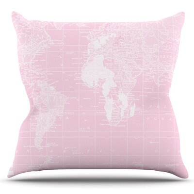 Welcome to my World by Catherine Holcombe Outdoor Throw Pillow Color: Pink